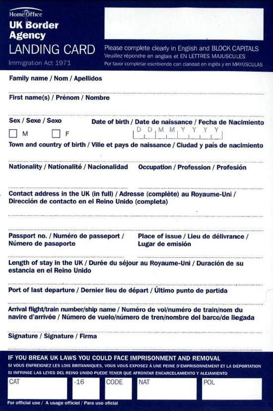 Esse é o Landing Card do Reino Unido